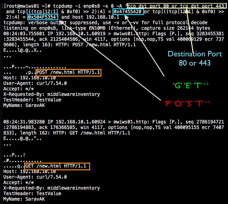 TCPDump Capture HTTP GET/POST requests - Apache, Weblogic & Websphere