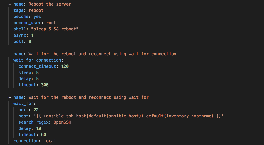 ansible wait_for reboot to complete